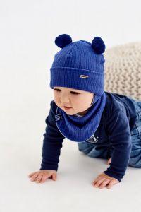 """Набір """"Алфі"""" для хлопчика, синій (шапочка і хомут), 20.04.021"""