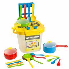 """Набір посуду з плитою """"Ромашка""""(25 елементів) - жовтий, Tigres 39153"""