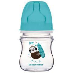 Антиколікова пляшечка з широким отвором 120мл (лінивець) Canpol Babies 35/220