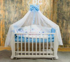 """Комплект для ліжечка """"Поїзд"""" (блакитний), БК-058, DC Kids"""