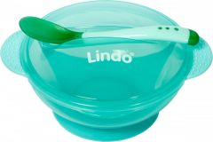 Дитяча мисочка на присосці з кришкою та ложкою (зелена) Lindo А 49