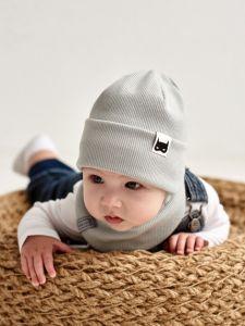 """Набір """"Ахмет"""" для хлопчика, сірий (шапочка і хомут), 21.02.022"""