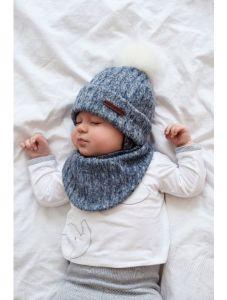 """Набір """"Ріо"""" для хлопчика, синій (шапка і хомут), 21-01-019"""