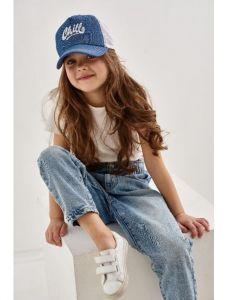 """Модна кепка для дівчинки """"Даніела"""" 21.03.022 (синя)"""