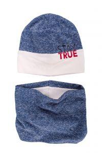 Набор Лио, синий (шапка и хомут), 18.04.039