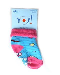 """Махрові шкарпетки для дівчинки з протиковзкими вставками """"смужка"""" (блакитні з рожевим), YOclub SKF-ABS"""
