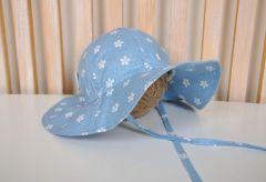 """Бавовняна панама із зав'язками для дівчинки """"Шарліз"""", блакитні квіточки, MagBaby 1026"""