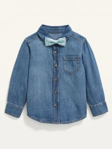 Джинсова сорочка з метеликом для хлопчика