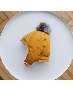 """Тепла шапка з начосом """"Аляска"""" для дитини, гірчична, 1032"""