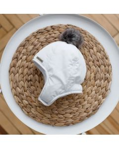 """Тепла шапка з начосом """"Аляска"""" для дитини, біла, 1032"""