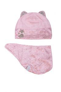 """Набір для дівчинки """"Емма"""" (шапка + слюнявчик) - рожевий, 19.02.002"""