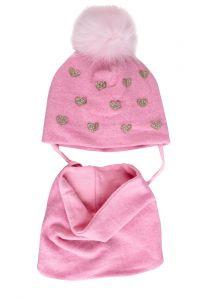 """Набір """"Коко"""" для дівчинки, рожевий (шапочка і хомут), 19.01.004"""