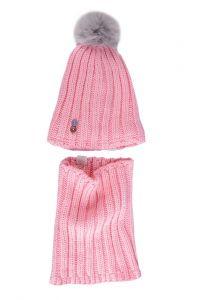 """Набір """"Естель"""" для дівчинки, рожевий (шапочка і хомут), 19.01.042"""