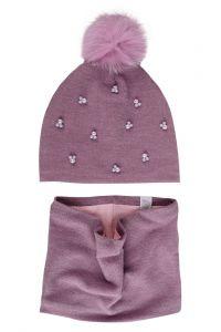 """Набір """"Аден"""" для дівчинки, бузковий (шапочка і хомут), 19.01.033"""