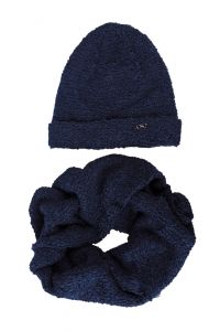 Набор Маргарет, синий  (шапка и хомут), 18-01-021