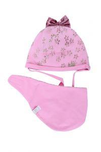 """Набір для дівчинки """"Мерін"""" (шапка + слюнявчик) - рожевий, 19.02.001"""