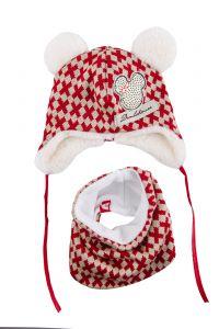 Набір Скайлайн для дівчинки, червоний (шапка та хомут), 17-04-031