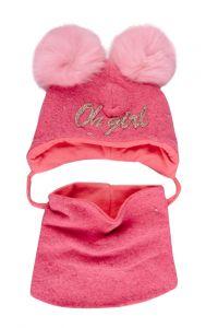 """Набір """"Чіо"""" для дівчинки, рожевий (шапочка і хомут), 19.01.003"""