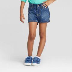 Стильні джинсові шорти для дівчинки в горошок