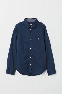 Коттонова сорочка для хлопчика (темно-синя)