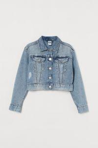 Вкорочена джинсова куртка для дівчинки