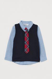 Комплект из рубашки, безрукавки и галстука для мальчика