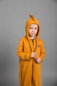 Трикотажний чоловічок з капюшоном і флісовій байкою всередині для дитини