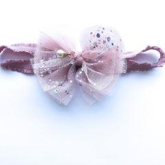 Красива пов'язка для дівчинки (рожева), ручна робота