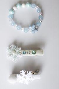 Красивий набір аксесуарів для дівчинки  ( 2 заколки + браслет), ручна робота