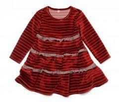 Велюровое платье с рюшами для девочки, 11681-1