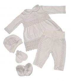 Святковий трикотажний комплект для дівчинки (білий), Bodik kth 202205