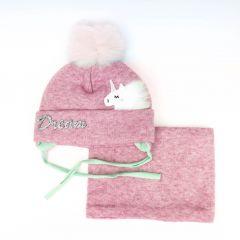 """Набір """"Наталі"""" для дівчинки (шапочка і хомут) рожевий, 20.10.004"""