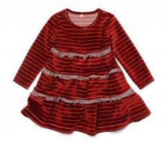 Велюровое платье с рюшами для девочки, 11681
