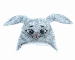 Велюрова подвійна шапочка для малюка, зайчик (сіра).