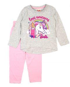 """Трикотажна піжама для дівчинки (сіра) """" Barbie"""" D-40789"""