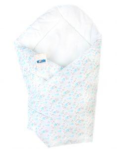 Котоновий ковдра-конверт для новонароджених (білий з голубим), BODIK