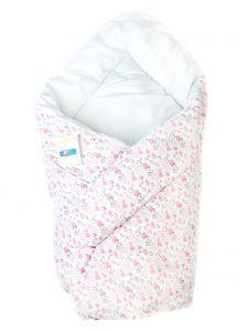 Ситцевий конверт-ковдра для новонароджених (білий з рожевим), BODIK