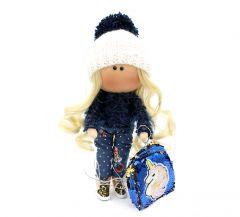 """Текстильна лялька ручної роботи """"Нана"""" з стильною сумочкою, ДекоЛад"""