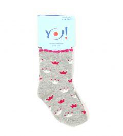 Шкарпетки для дівчинки сірі (корони), YOclub  SKC/PIK/2MIX