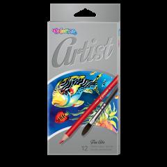 """Акварельні олівці """"Artist"""" (12 кольорів+пензлик), 65528PTR Colorino"""