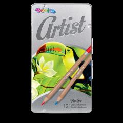 """Кольорові олівці """"Artist"""" в металевій коробці (12 кольорів), 83256PTR Colorino"""