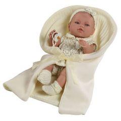 Лялька вінілова новонароджена з пледом (42 см), 5106, Berbesa