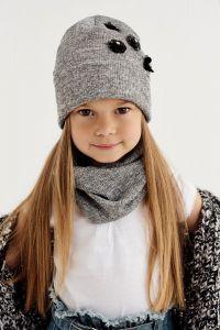 """Набір """"Лайла"""" для дівчинки, сірий меланж (шапочка і хомут), 20-04-007"""