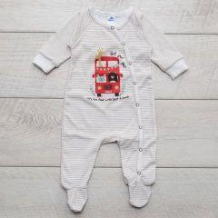 Трикотажний чоловічок для дитини (молочний смужка), MINIKIN 205703