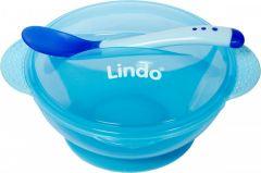 Дитяча мисочка на присосці з кришкою та ложкою (синя) Lindo A 49