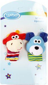 """М'яка іграшка-брязкальце на руку """"Корова і Мишка"""", Lindo F 1005"""
