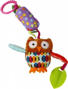 """М'яка іграшка-брязкальце з прорізувачем """"Сова"""", Lindo F 1001"""