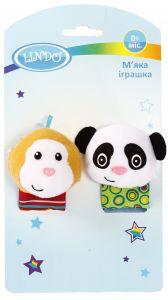 """М'яка іграшка-брязкальце на руку """"Панда і Мавпочка"""", Lindo F 1005"""