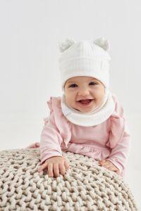"""Набір """"Маріам"""" для дівчинки, молочний (шапочка і хомут), 20.04.016"""