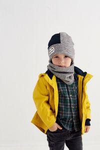 """Набір """"Мейсон"""" для хлопчика, сірий (шапочка і хомут), 20.04.029"""
